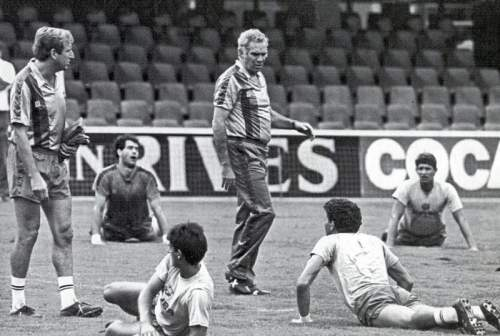 Карлос Рексач и Луис Арагонес во время тренировки