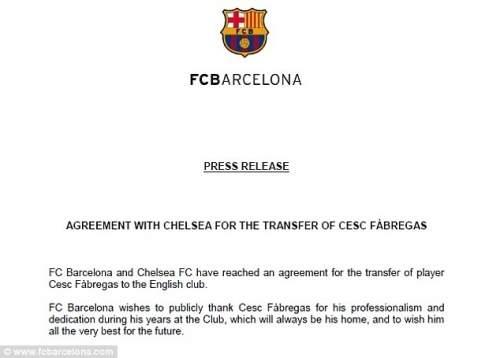 Сделать это официально: Барселона выступил с официальным заявлением, поблагодарив Фабрегаса для своего времени